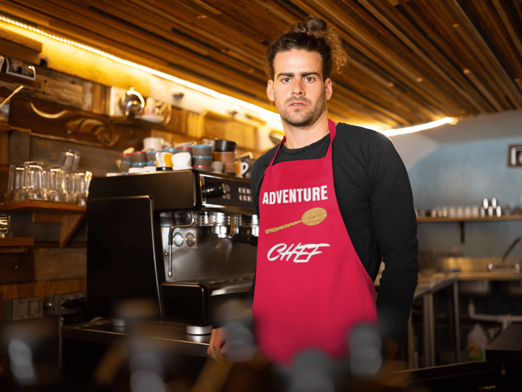 Man with custom apron and chef design
