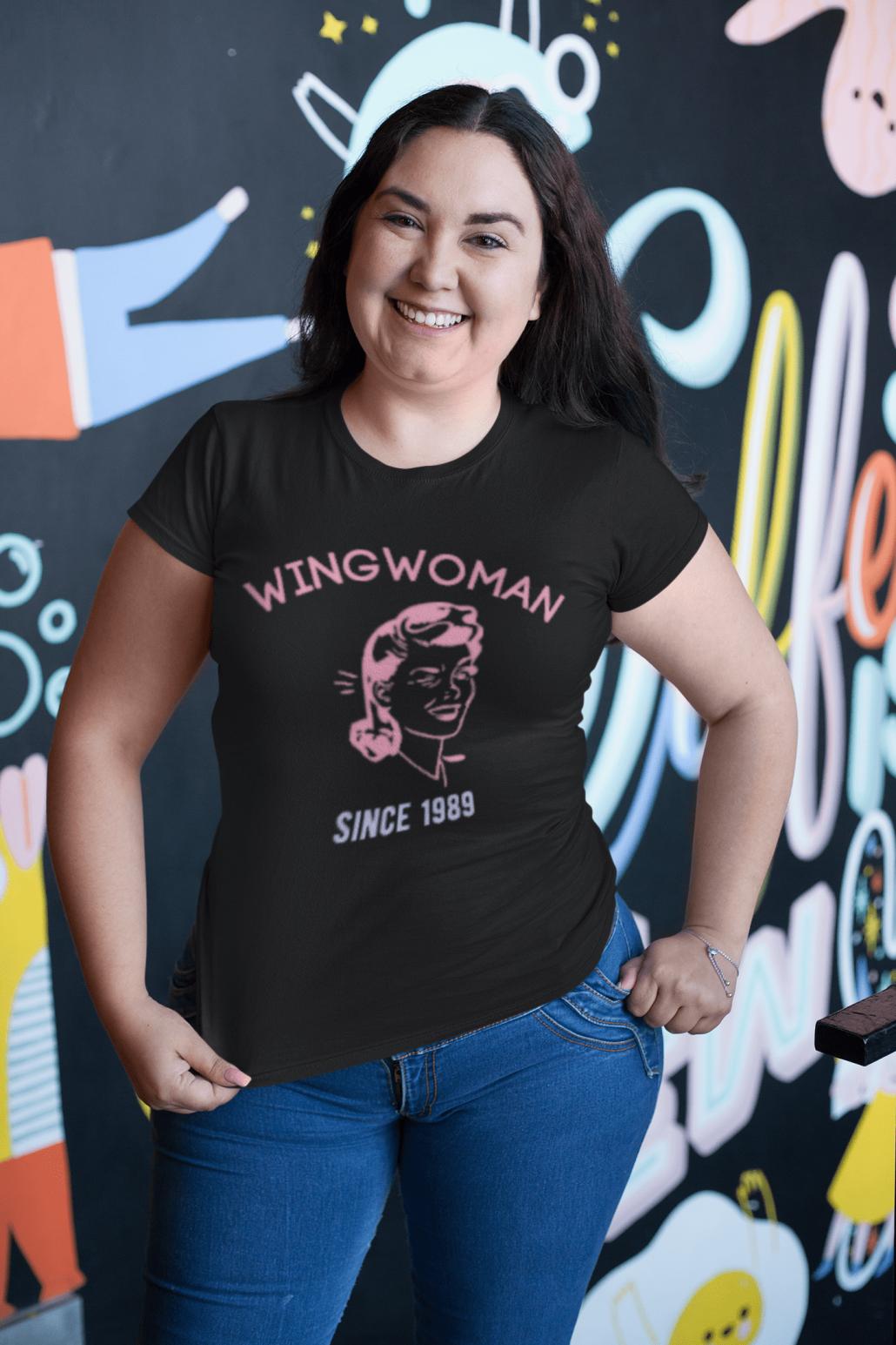 Curvy woman wearing custom wingwoman T-shirt