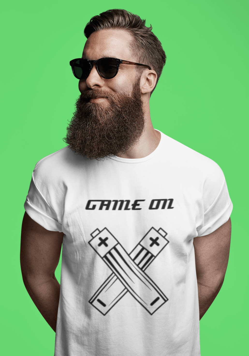 Bearded guy with custom gaming T-shirt
