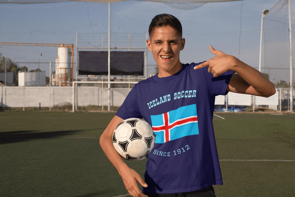 Christian Erikson wearing custom soccer fan shirt with football