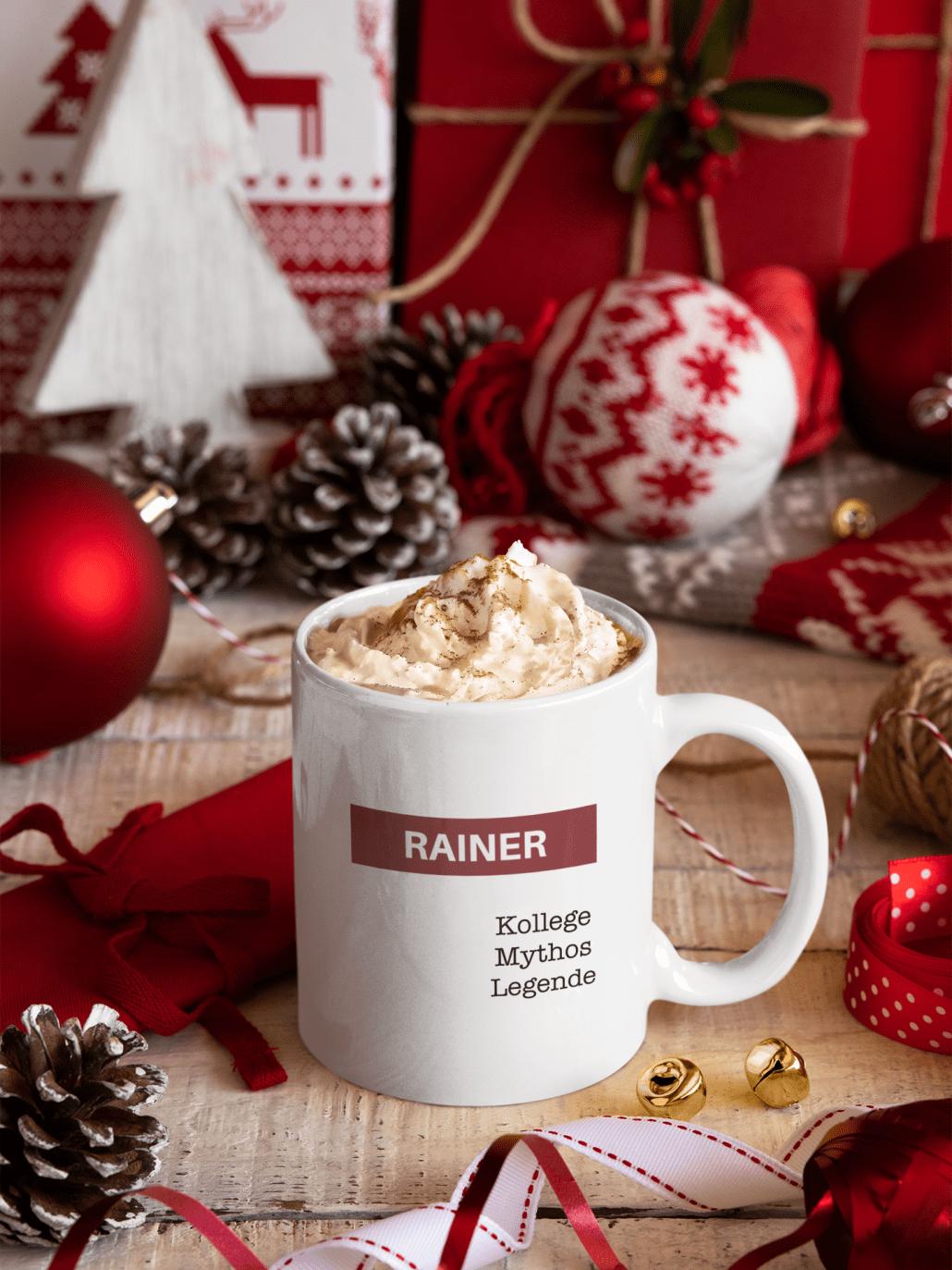 Selbst gestaltete Weihnachts-Tasse für Arbeitskollegen