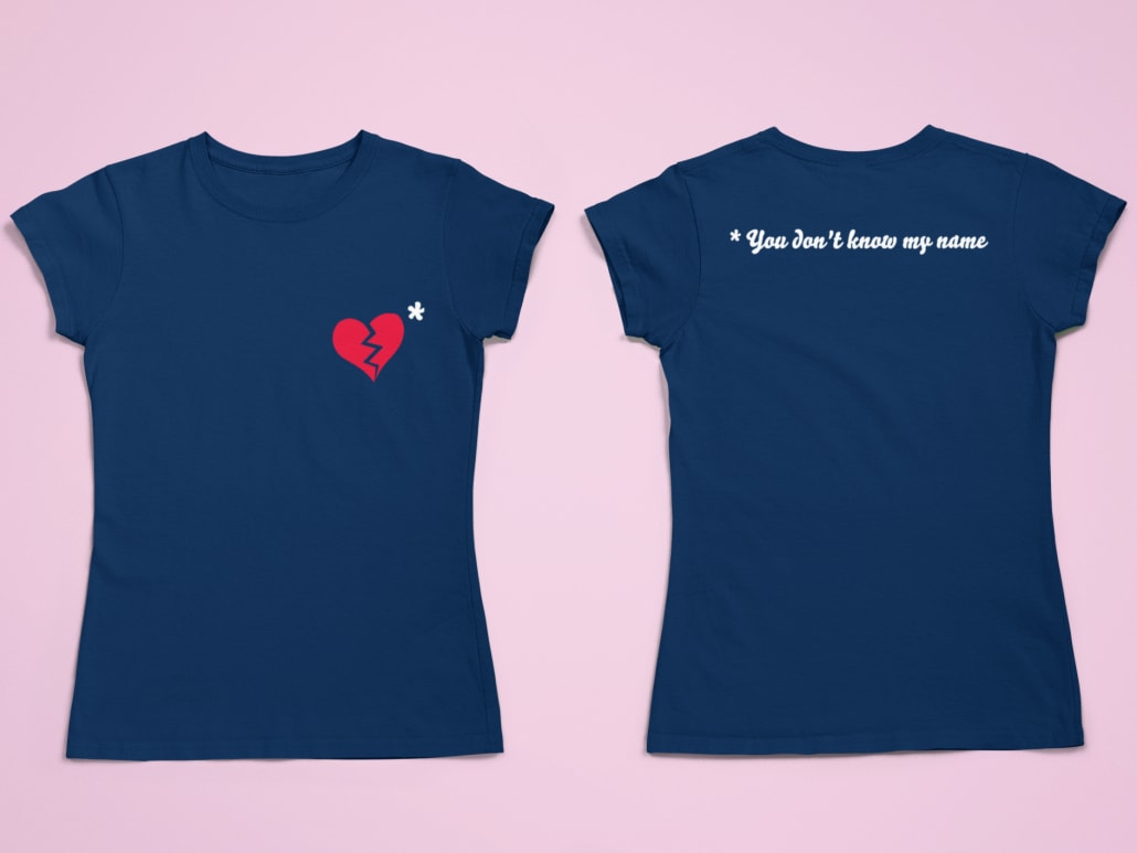 #blue t-shirt printed with a broken heart
