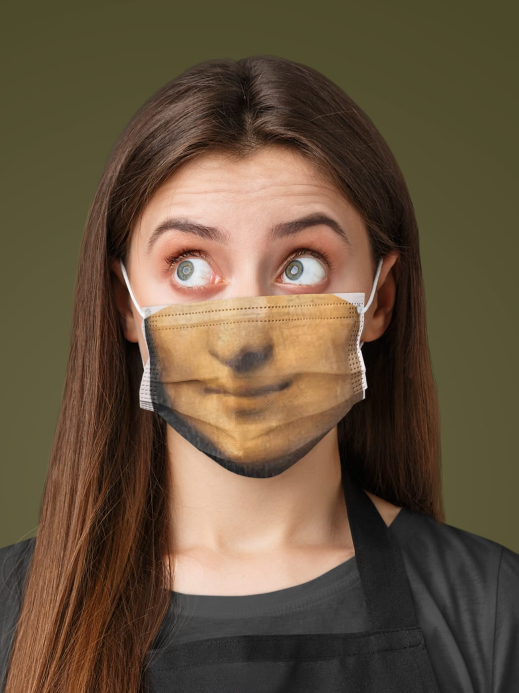 A woman wearing a fitted (Mona Lisa )face mask