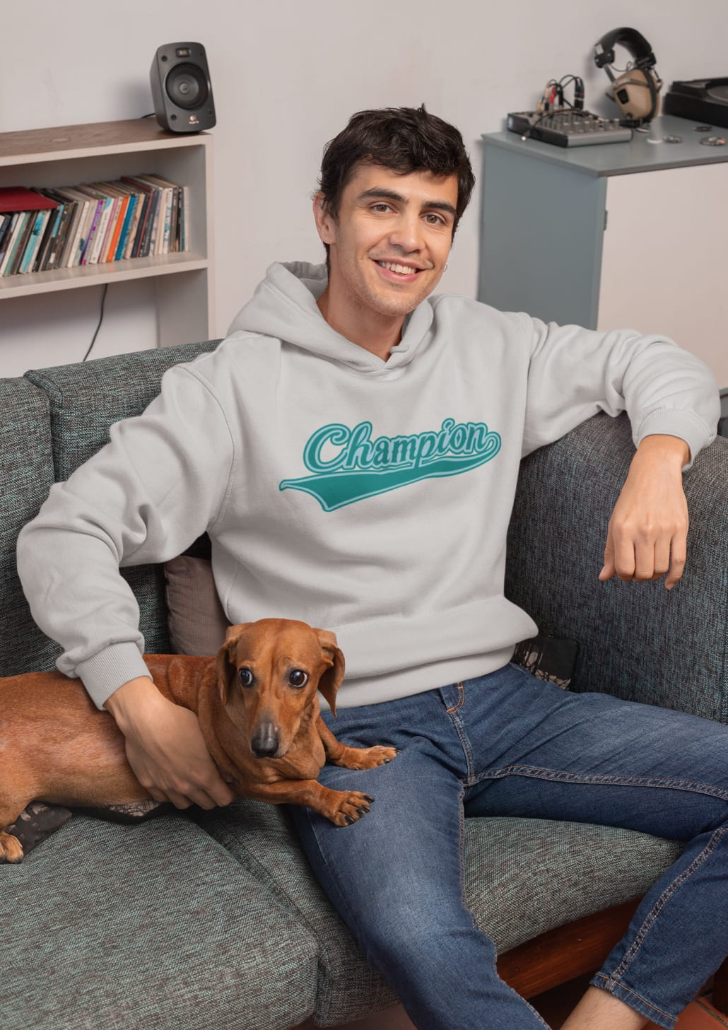 #boy with gray hoodie and cute dog