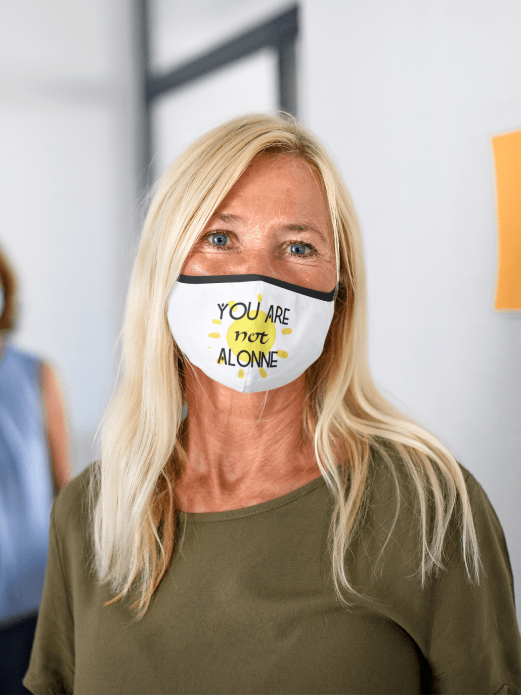 face mask mockup of a woman with blonde hair