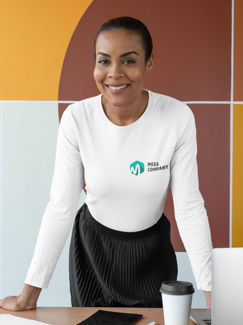 woman wearing a longsleeve with logo on it