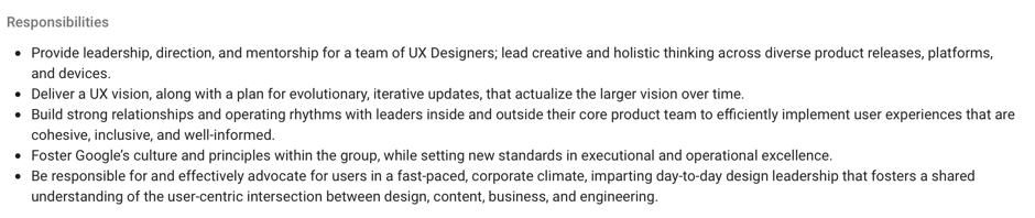 Google's job requirements for a UX design manager