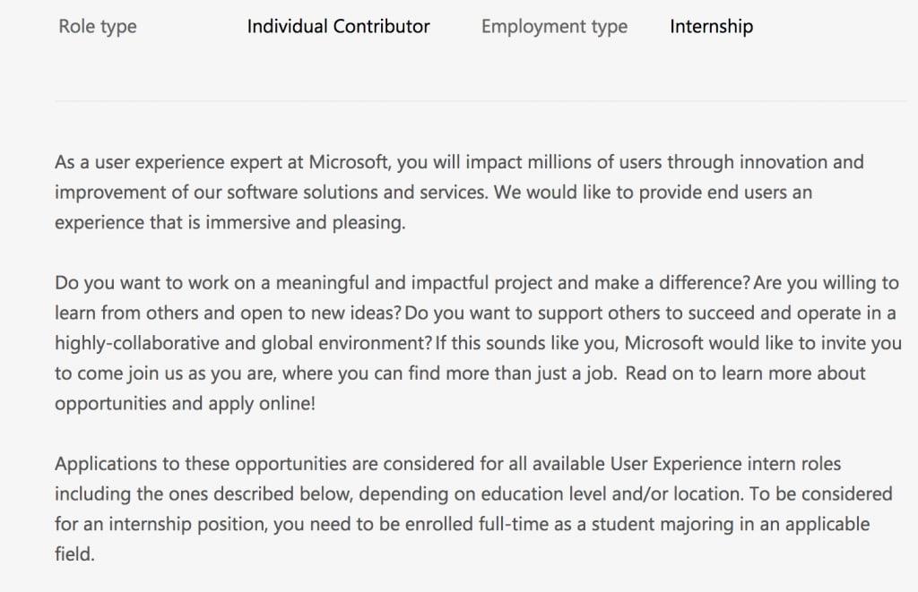 Microsoft UX design internship