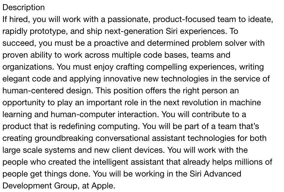 Learn how to become a machine learning engineer based on this job description for machine learning engineer at Apple