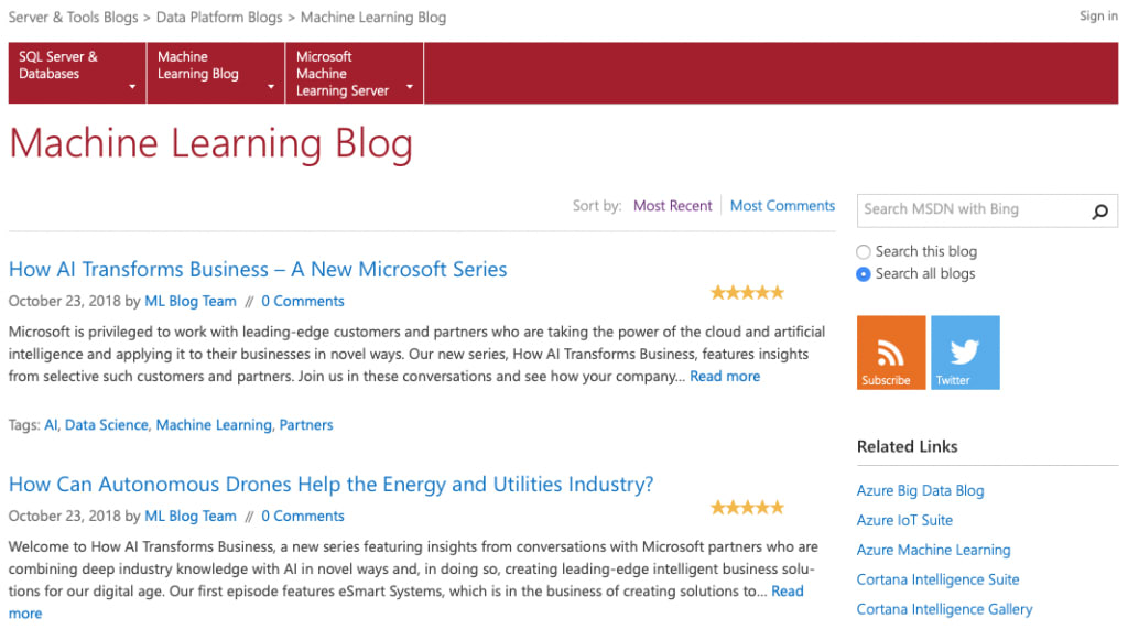 Microsoft's Machine Learning Blog