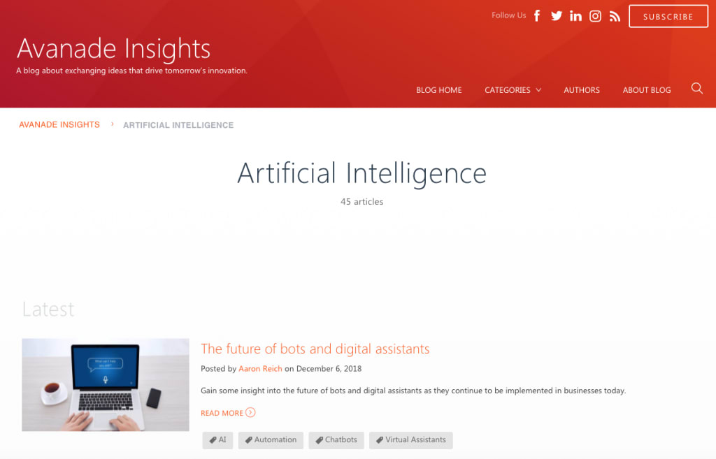 Avanade Insights' artificial intelligence blog