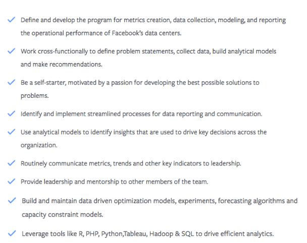 A job posting for a San Francisco-based data scientist role at Facebook