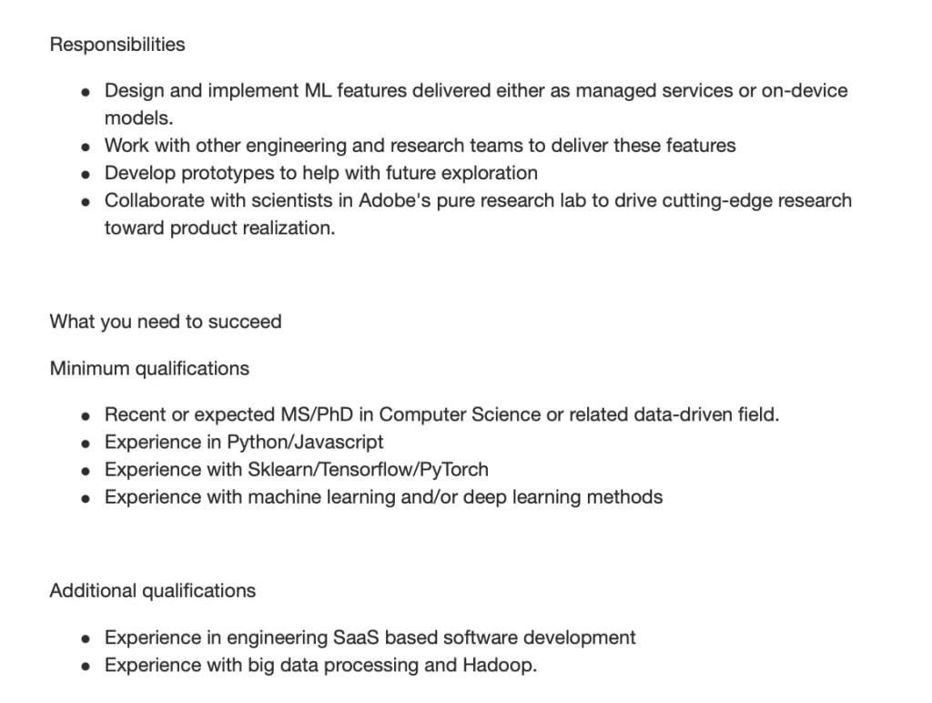 Adobe job posting