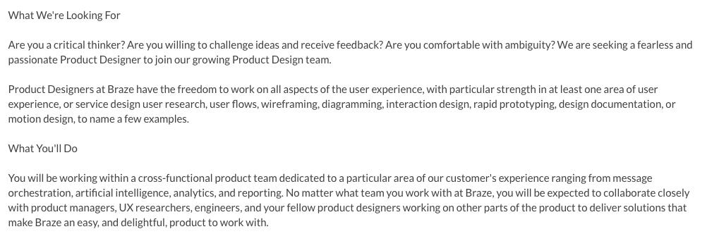 Product designer responsibilities