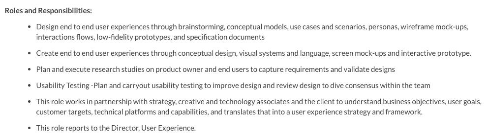 UX designer role responsibilities