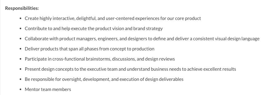 UX design job responsibilities