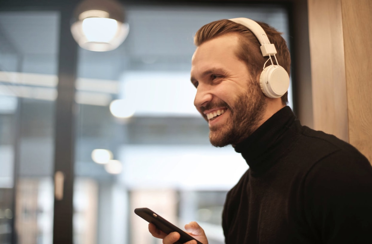 A man listening to digital audio