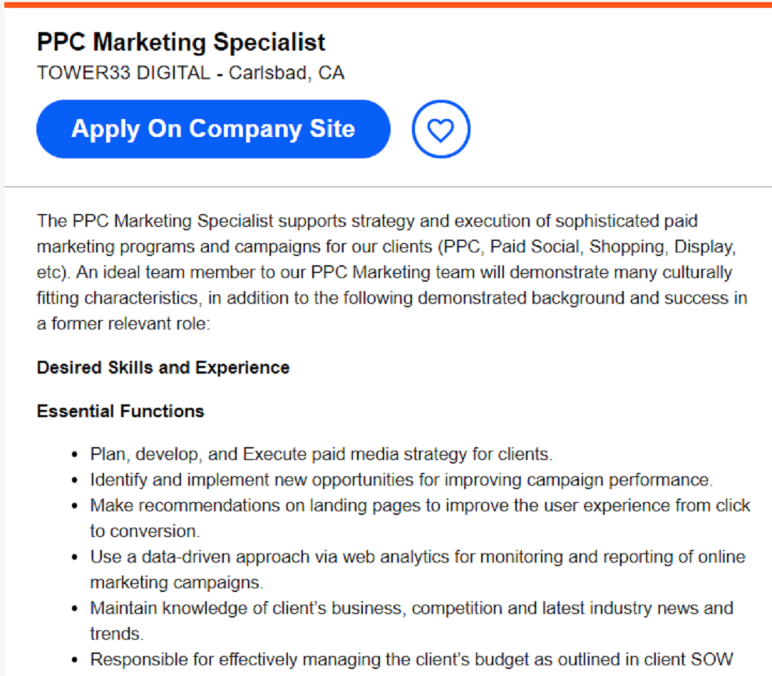 PPC marketing specialist description