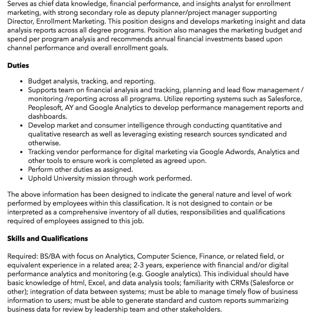 data analyst job description/sample