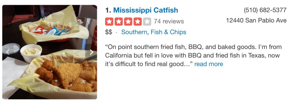 Yelp review for Mississippi Catfish