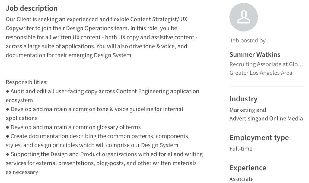 UX copywriter job posting