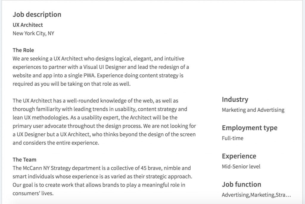 UX architect job posting
