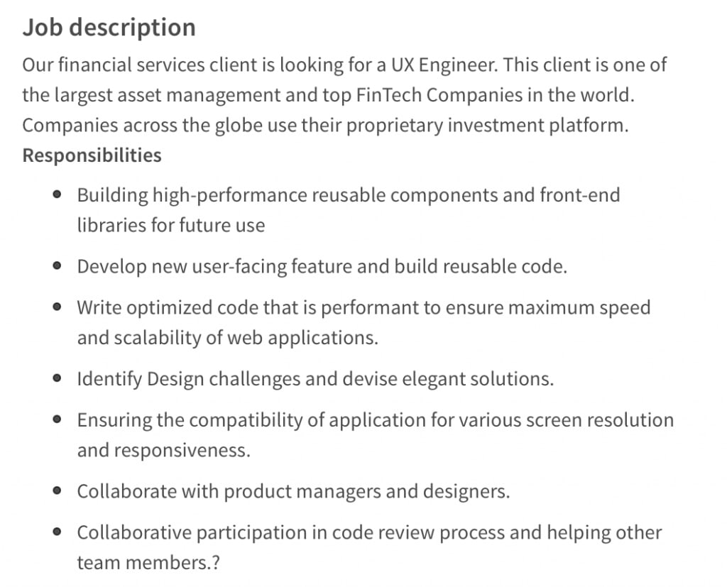 UX engineer job posting