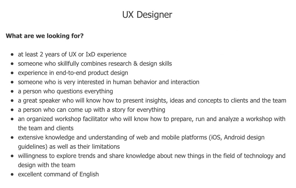 UX designer job posting