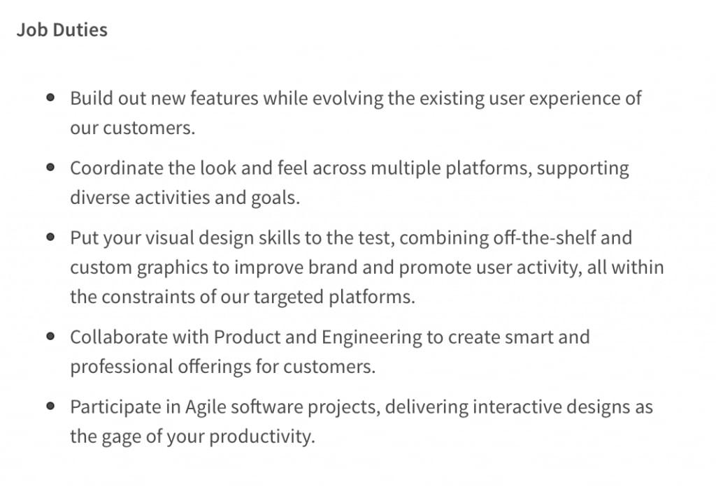 UI designer job posting