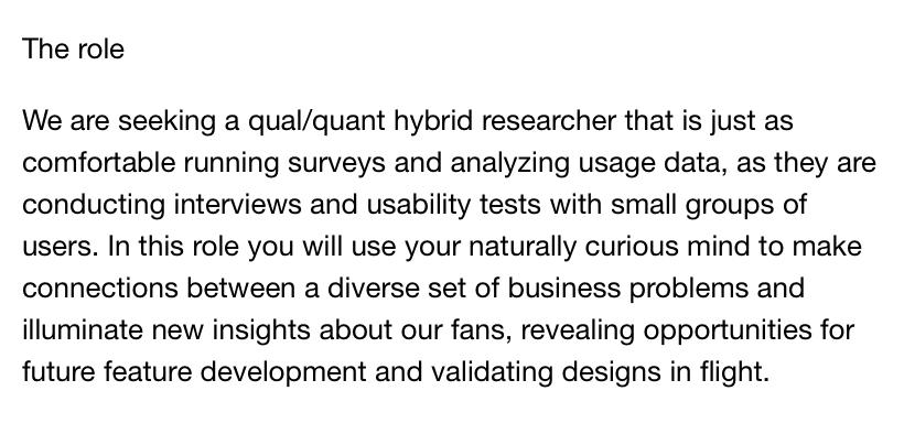 UX researcher job posting