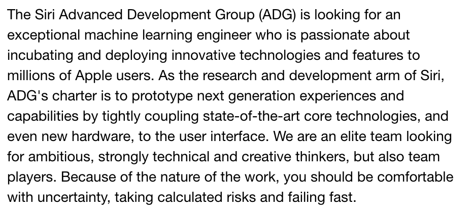 Job description for machine learning engineer at Apple