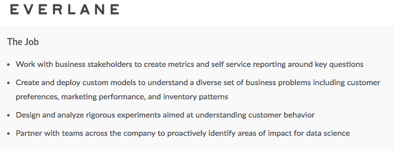 A San Francisco-based job posting for e-commerce startup Everlane