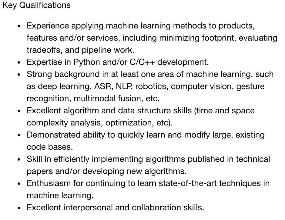 Prerequisites for machine learning for an Apple job