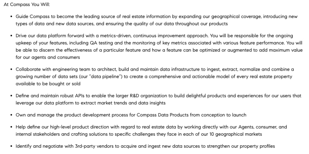 An ad for an New York City-based data analyst at real estate startup Compass