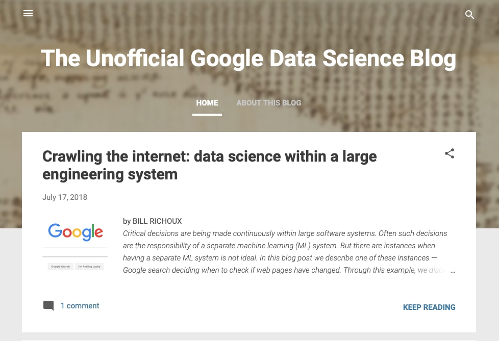 Unofficial Google Data Science Blog