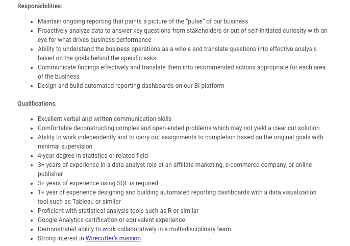 A job posting for a New York City--based data analyst at The New York Times