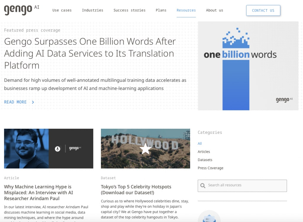 Gengo's artificial intelligence resources page