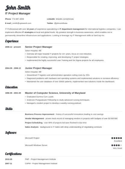 example tech resume