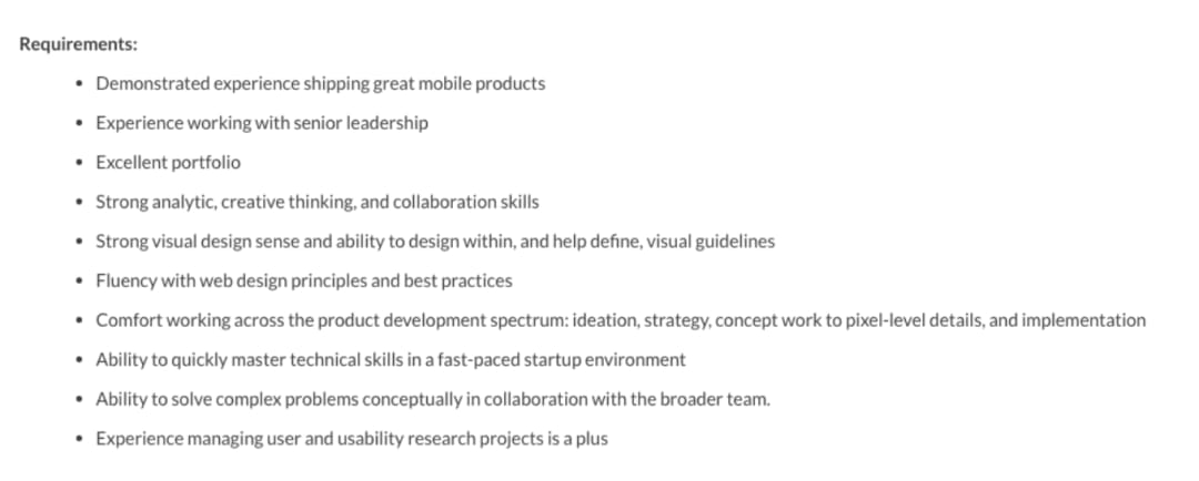 UX design job requirements