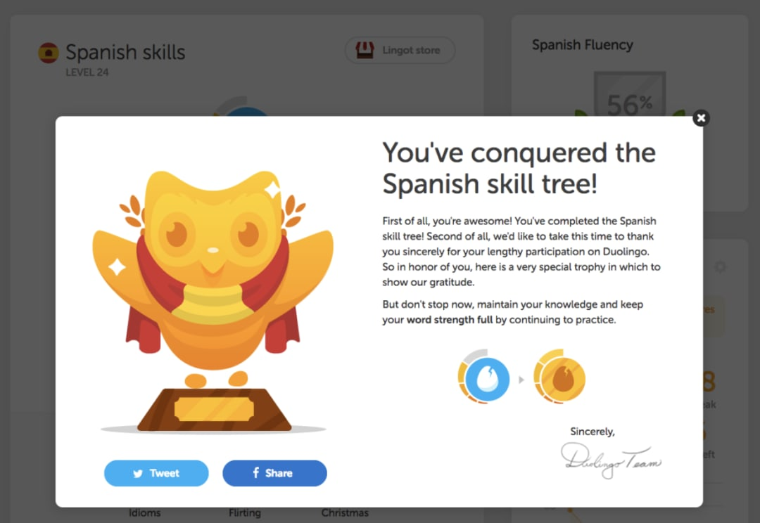 UX design interview questions - Duolingo badge