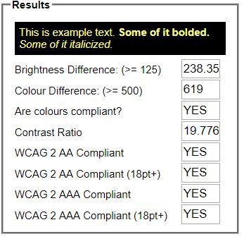 A successful color contrast test
