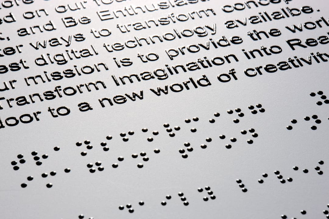 Text translated into braille