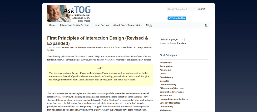 Bruce Tognazzini's First Principles of Interaction Design