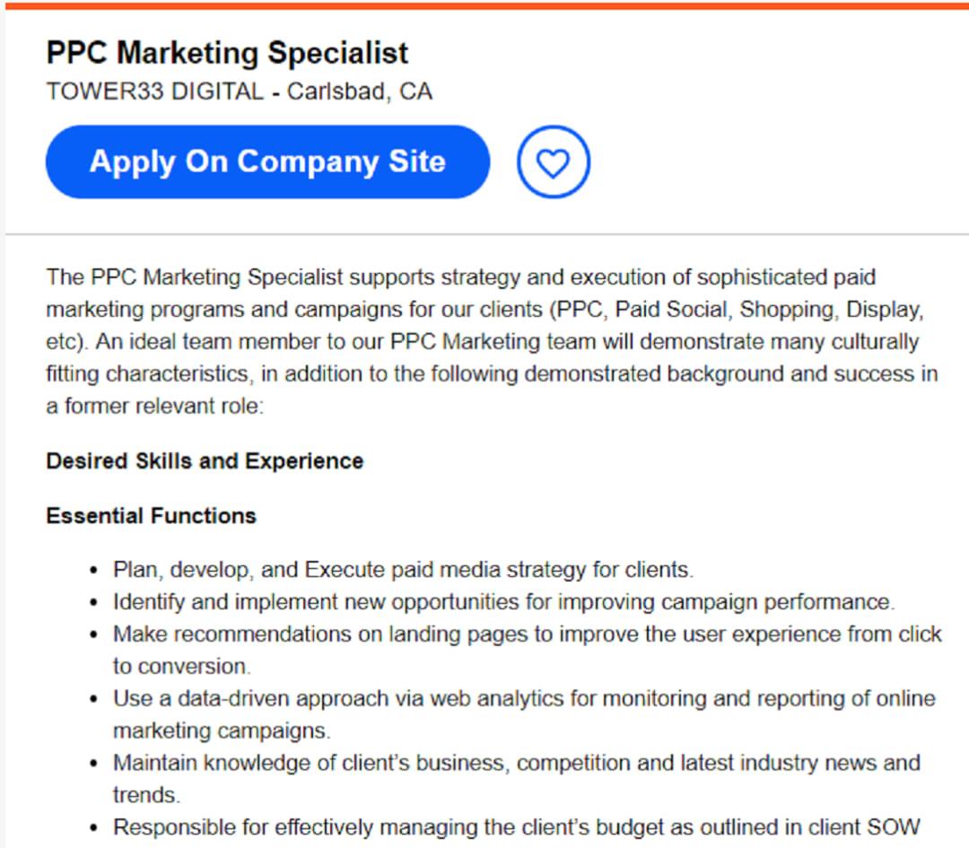 PPC marketing specialist description