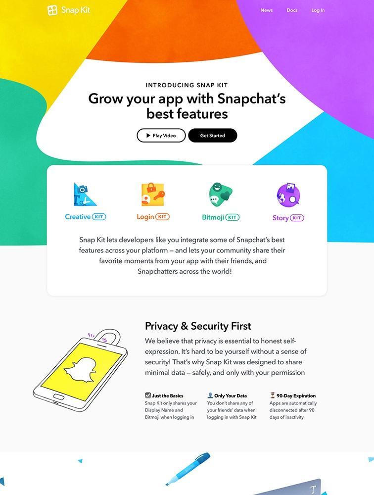 Snap Kit landing page