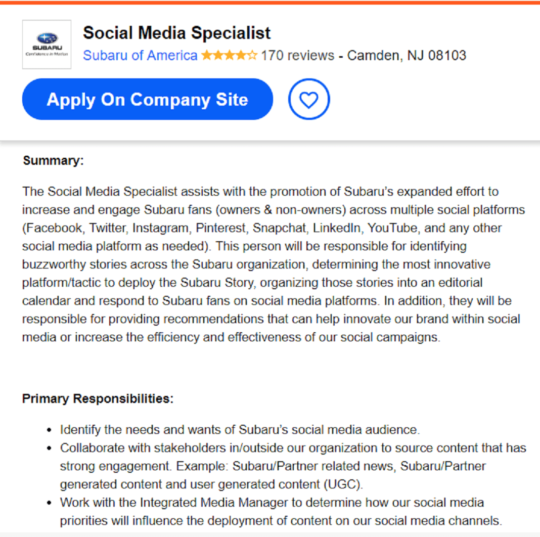 Social media specialist job description