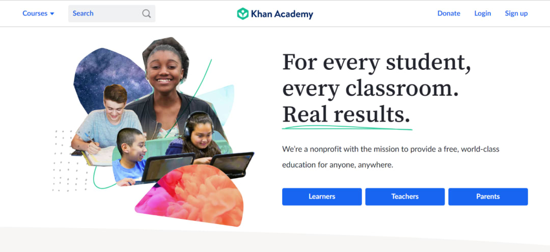 Khan Academy landing page