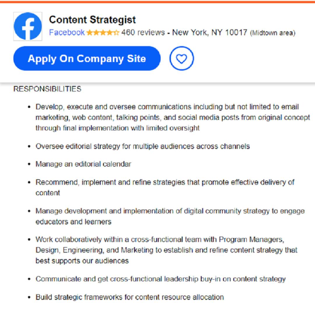 Content strategist job description