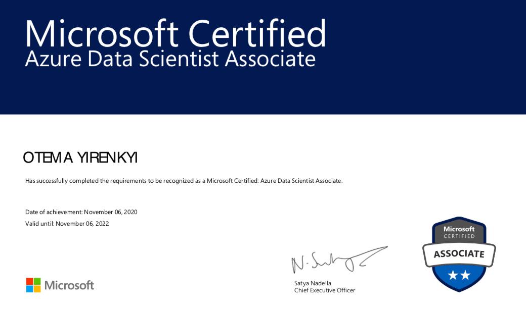 Microsoft Azure Data Scientist Associate