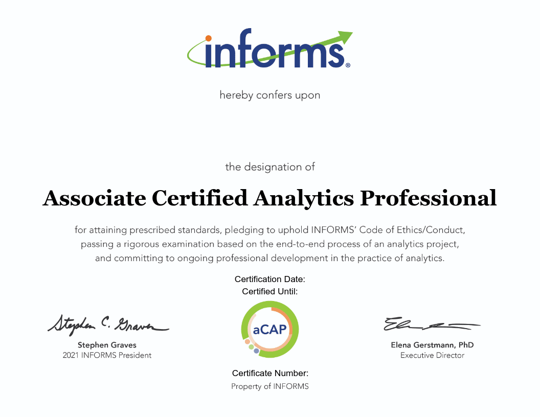 Data Analyst Certifications - Associate Certified Analytics Professional (aCAP)